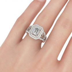Jeulia Double Halo Emerald Cut Sterling Silver Ring