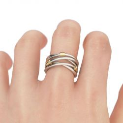 Jeulia Two Tone Crossover Sterling Silver Ring