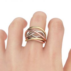 Jeulia  Tri-Tone Intertwined Sterling Silver Ring