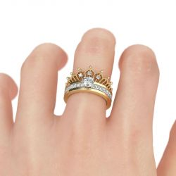 Jeulia Two Tone Crown Round Cut Sterling Silver Ring set