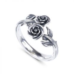 Jeulia Cross Roses Ring
