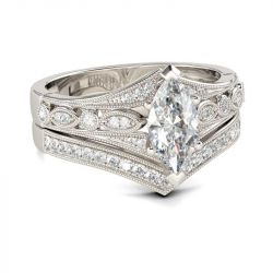 Jeulia Milgrain Marquise Cut Sterling Silver Ring Set