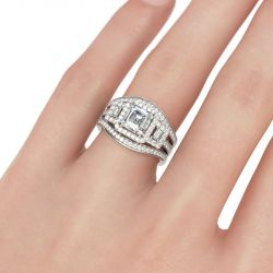 Jeulia Halo Three Stone Asscher Cut Sterling Silver Ring Set