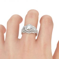 Jeulia Halo Round Cut Sterling Silver Ring Set