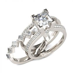 Jeulia Geometrical Princess Cut Sterling Silver Ring Set