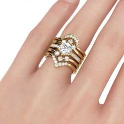 Jeulia Yellow Gold Tone 5PC Round Cut Sterling Silver Ring Set
