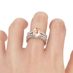 Jeulia  Two Tone Oval Cut Sterling Silver Ring Set