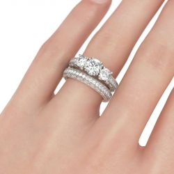 Jeulia  Three Stone Milgrain Round Cut Sterling Silver Ring Set