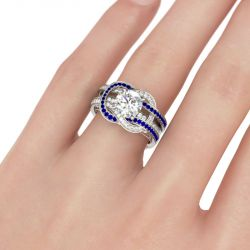 Jeulia  Knot Round Cut Sterling Silver Ring Set