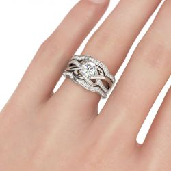 Jeulia Knot Round Cut Sterling Silver 3PC Ring Set