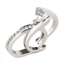 Jeulia  Bypass Trillion Cut Sterling Silver Ring Set