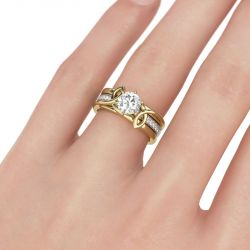 Jeulia  Two Tone Twist Round Cut Sterling Silver Ring Set