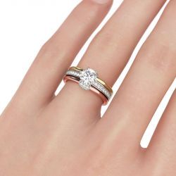 Jeulia  Tri-Tone Interchangeable Round Cut Sterling Silver Ring Set