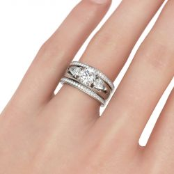 Jeulia Three Stone Round Cut Enhancer Sterling Silver Ring Set