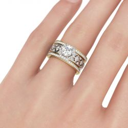 Jeulia Vintage Halo Round Cut Sterling Silver Ring Set