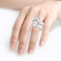 Jeulia Cushion Cut Three Sided Pave Sterling Silver Eternity Ring Set