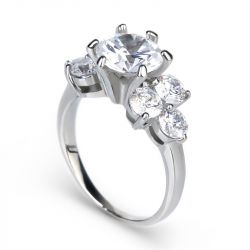 Jeulia Cluster Sterling Silver Ring