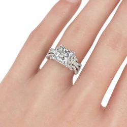Jeulia Vintage Lace Design Princess Cut Sterling Silver Ring