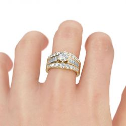 Jeulia Gold Tone Round Cut Sterling Silver Ring