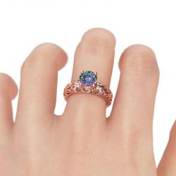Jeulia Rose Gold Tone Round Cut Sterling Silver Ring