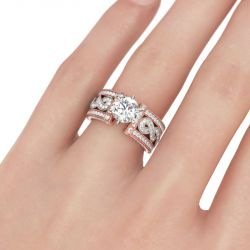 Jeulia Two Tone Twist Round Cut Sterling Silver Ring