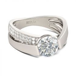 Jeulia Tension Set Round Cut Sterling Silver Ring