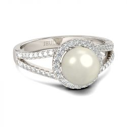 Jeulia Halo Split Shank Faux Pearl Sterling Silver Ring