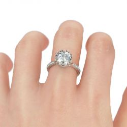 Jeulia  Crown Shape Round Cut Sterling Silver Ring