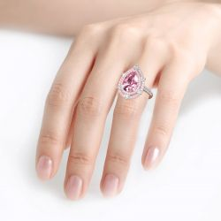 Jeulia Double Halo Pear Cut Pink Stone Sterling Silver Ring