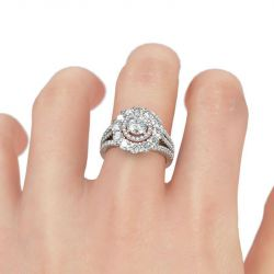 Jeulia Flower Inspired Double Halo Round Cut Sterling Silver Ring