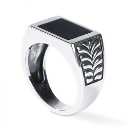 Jeulia Classic Sterling Silver Signet Ring