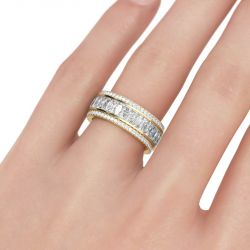 Jeulia Gold Tone Radiant Cut Sterling Silver Women's Band