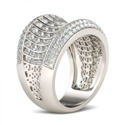 Jeulia Wide Pave Round Cut Sterling Silver Women's Band