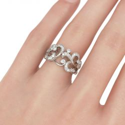 Jeulia  Scrollwork Round Cut Sterling Silver Women's Band