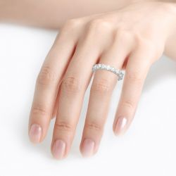 Jeulia Round Cut Eternity Three Sided Pave Sterling Silver Women's Band