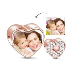 Rose Gold Heart Photo Charm Sterling Silver