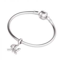 Letter M Dangling Charm Sterling Silver