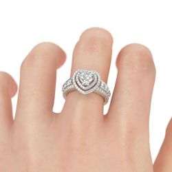 Jeulia Double Halo Heart Cut Sterling Silver Engagement Ring