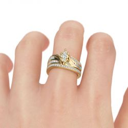 Jeulia Gold Tone Cluster Round Cut Sterling Silver Ring Set