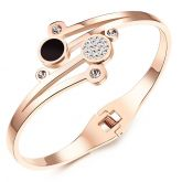 Jeulia  Rose Gold Tone Titanium Steel Bangle