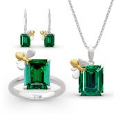 "Jeulia ""Honey Bee"" Emerald Cut Sterling Silver Jewelry Set"