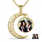 Jeulia  Gold Tone Crescent Moon Personalized Photo Necklace Sterling Silver
