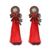 Jeulia Red Tassel Statement Earrings