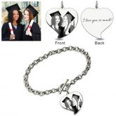 Jeulia  Heart Laser Personalized Photo Bracelet Sterling Silver