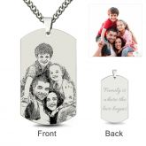 Jeulia  Dog Tag Laser Engraved Personalized Photo Necklace Sterling Silver