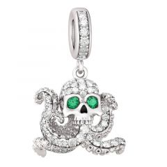 Octopus With Skull Head Sterling Silver Dangle Charm