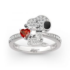"""Jeulia """"Live In The Present"""" Puppy Heart Cut Sterling Silver Ring"""