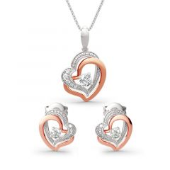 Jeulia Double Heart Sterling Silver Jewelry Set