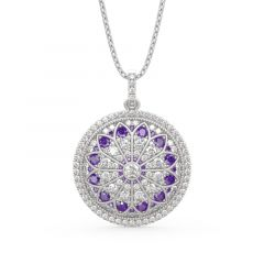 "Jeulia ""Divine Rose Window"" Inspired Sterling Silver Necklace"