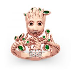 """Jeulia """"I am Groot"""" Tree Man Sterling Silver Ring"""